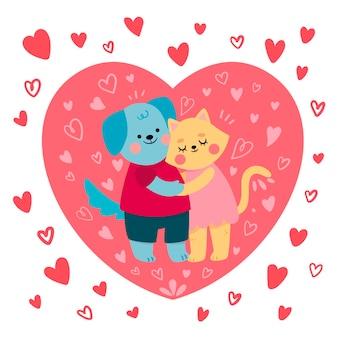 Casal fofo de gato e cachorro ilustrado