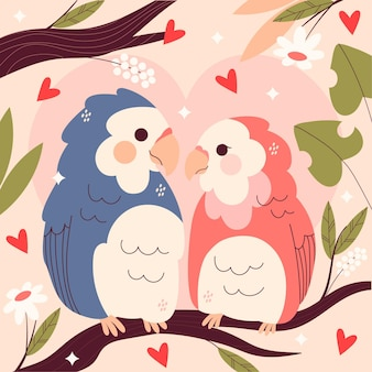 Casal fofo de pássaros do dia dos namorados
