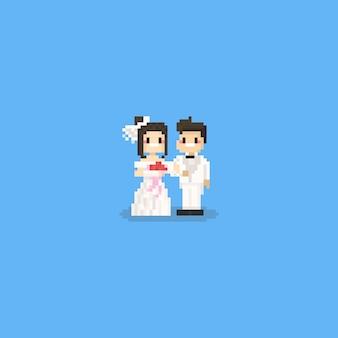 Casal fofo de pixel em panos de casamento branco