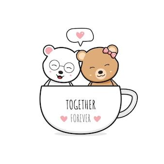 Casal fofo de urso em uma xícara de café cartoon doodle cartão ícone ilustração design plano cartoon estilo