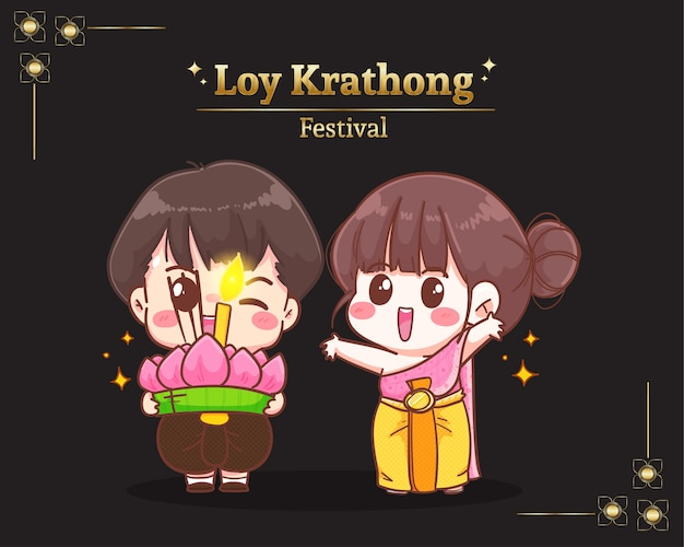 Casal fofo do festival loy krathong