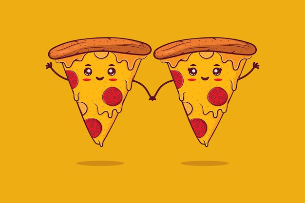 Casal fofo e feliz e sorridente de pizza