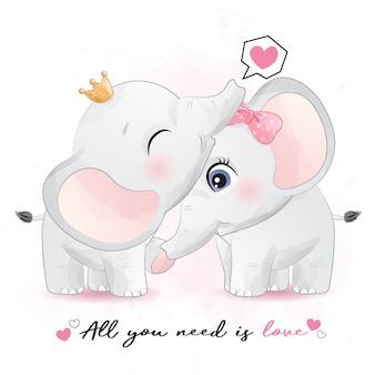Casal fofo elefante com ilustração em aquarela