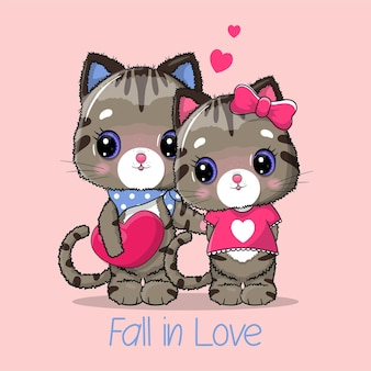 Casal fofo gato com ilustração de coração grande