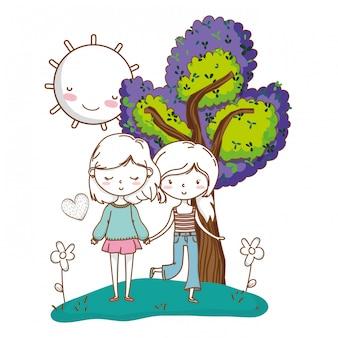 Casal fofo meninas amigos natureza colorida