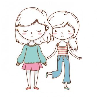 Casal fofo meninas amigos