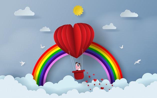 Casal fofo no balão em forma de coração vermelho
