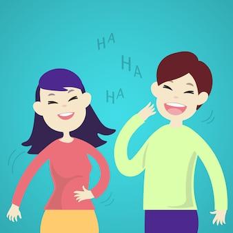 Casal fofo rindo juntos
