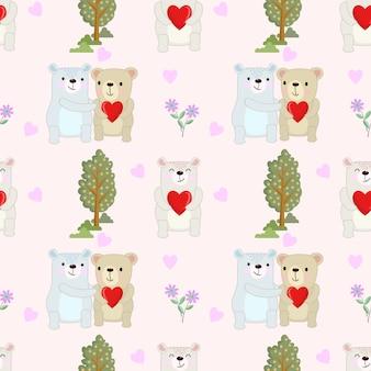 Casal fofo urso com forma de coração.