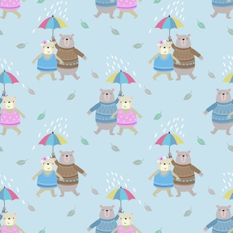 Casal fofo urso com guarda-chuva na chuva