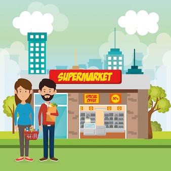 Casal fora de cena de construção de supermercado