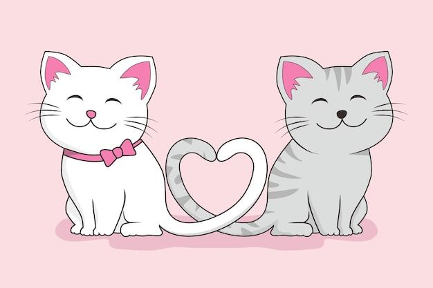 Casal gato amor fofo desenho animado isolado em rosa