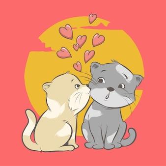Casal gato beijando com coração isolado no vermelho