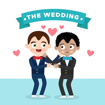 Casal gay casamento em design plano