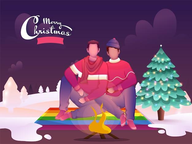 Casal gay de desenho animado sentado em frente a uma fogueira