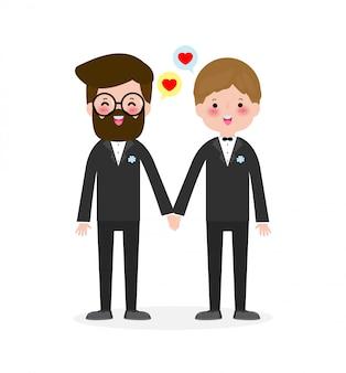 Casal gay feliz em trajes de casamento e ilustração de estilo apartamento moderno desenha clip-art isolado no fundo branco.