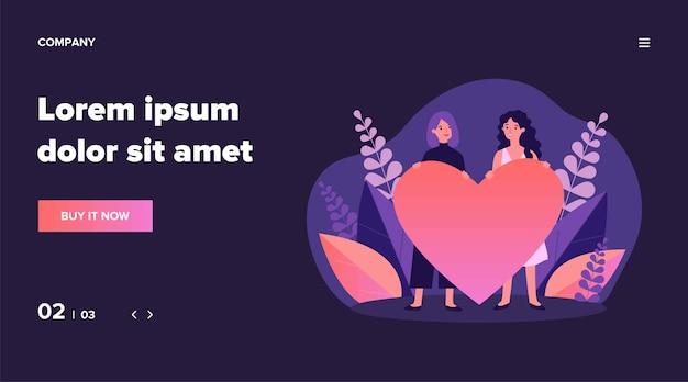 Casal gay feminino alegre segurando coração vermelho. mulheres homossexuais, lgbt, ilustração lésbica. relacionamento, amor, conceito de casamento para banner, site ou página de destino