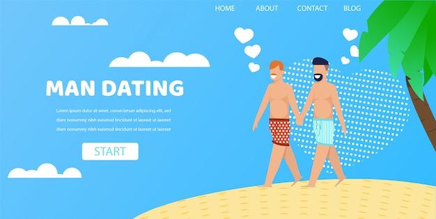 Casal gay masculino de mãos dadas na ilustração de praia