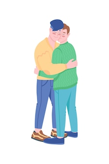 Casal gay sorrindo e se abraçando