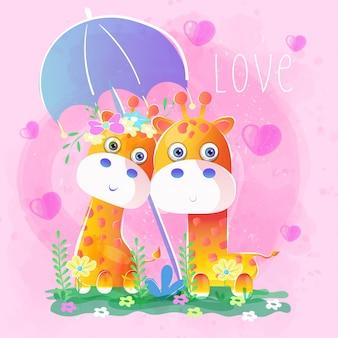 Casal girafa sob um guarda-chuva