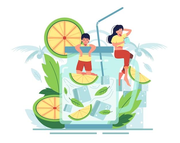 Casal gosta de beber um suco de laranja com folhas de hortelã em uma jarra transparente. o frescor do verão.