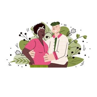 Casal grávida apaixonada - foto de gravidez de casal interracial segurando a barriga da mãe e sorrindo. ilustração em vetor de futuros pais nas folhas de verão.