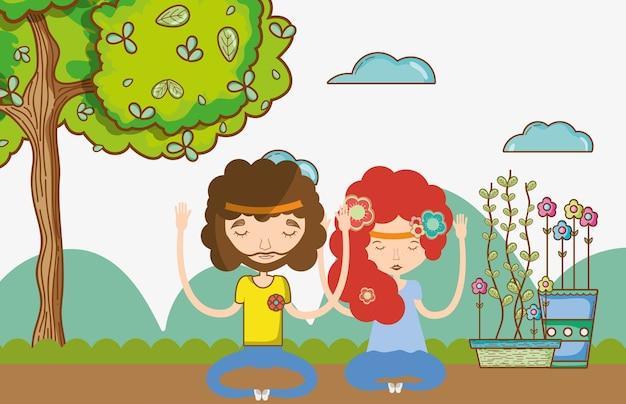 Casal hippie na natureza