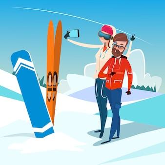 Casal homem e mulher com ski snowboard