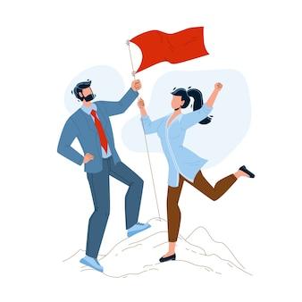 Casal homem e mulher conquistam o pico da montanha