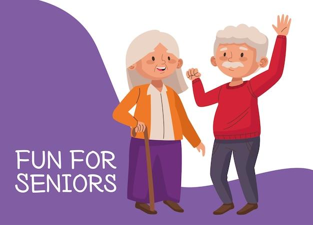 Casal idoso com bengala e letras de personagens idosos ativos