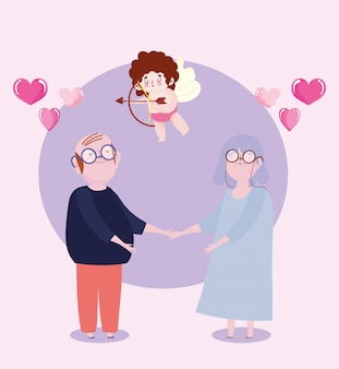 Casal idoso e cupido com flecha e arco amam desenhos de corações românticos