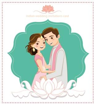 Casal indiano bonito para cartão de casamento