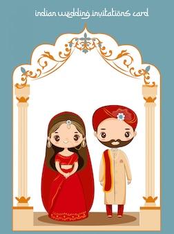Casal indiano bonito para cartão de convites de casamento