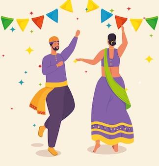 Casal indiano com roupas de dança tradicional e desenho de ilustração de guirlandas