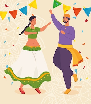 Casal indiano com roupas de dança tradicional e ilustração de decoração de guirlandas