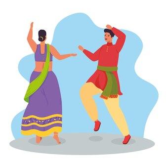 Casal indiano com roupas de dança tradicional