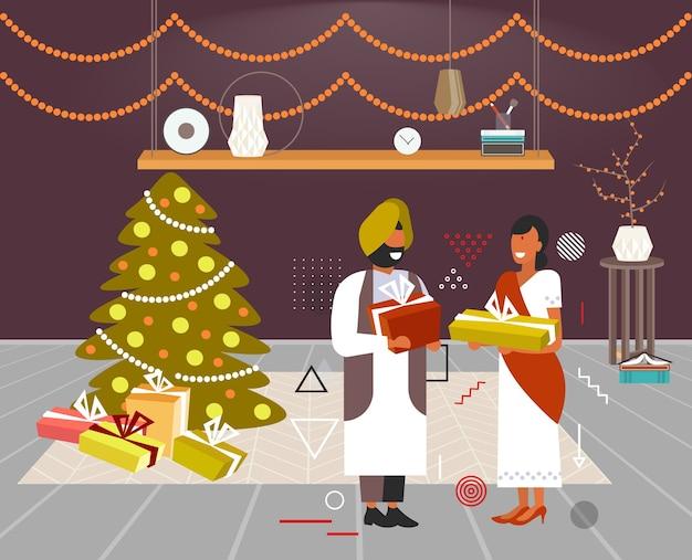 Casal indiano dando caixas de presentes um ao outro feliz natal férias de inverno conceito de celebração moderna sala de estar interior ilustração vetorial horizontal de comprimento total