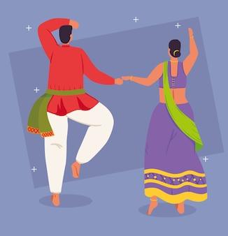 Casal indiano de costas com roupas de dança tradicional design de ilustração