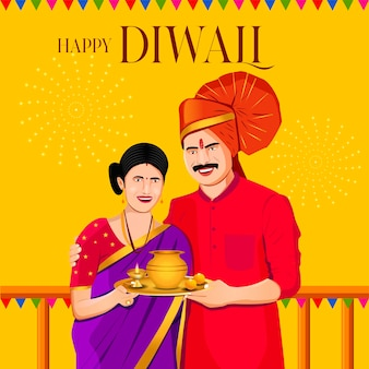Casal indiano diwali com pooja thali