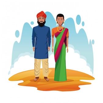 Casal indiano dos desenhos animados da índia