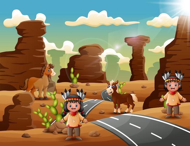 Casal indiano dos desenhos animados no deserto