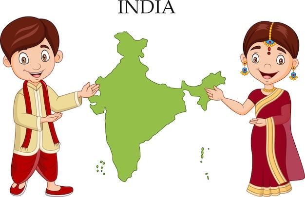 Casal indiano dos desenhos animados, vestindo o traje tradicional