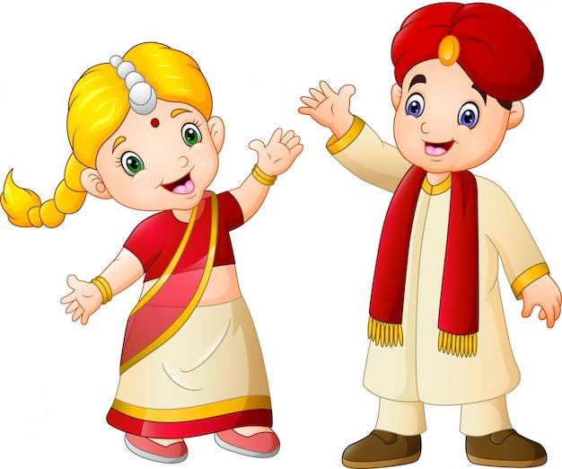 Casal indiano dos desenhos animados, vestindo trajes tradicionais