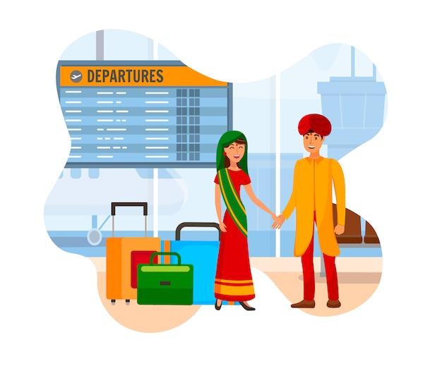 Casal indiano na ilustração de cor plana de aeroporto