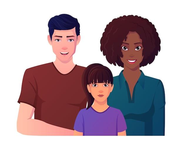 Casal inter-racial e família com pai caucasiano, mãe negra africana e filho misto