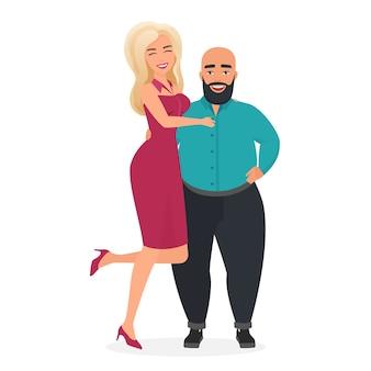 Casal interracial esquisito atípico mulher loira pódio modelo mulher com homem baixo e gordo careca