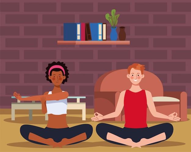 Casal interracial praticando ioga em casa