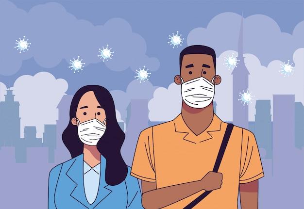 Casal interracial usando caracteres de máscaras médicas