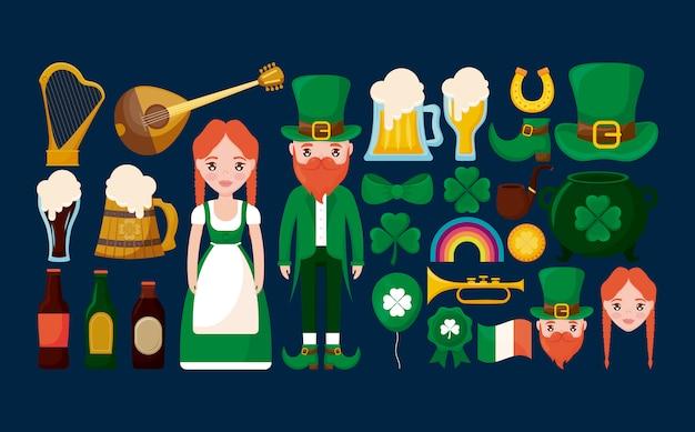 Casal irlandês com conjunto de personagens, trevol e cerveja