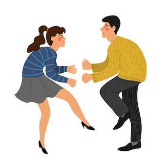 Casal isolado dançando uma torção. pessoas na dança.